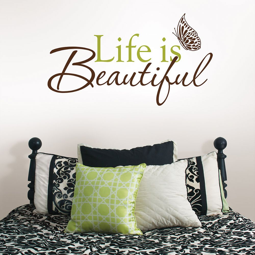 Life is Beautiful Wall Phrases Wall Sticker Set